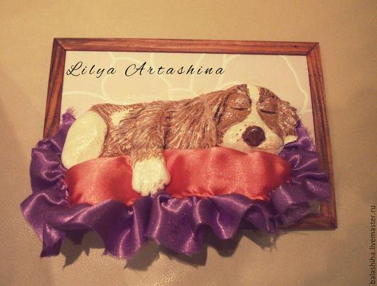 мукосолька `Сладко спящий щеночек, обнявший подушку`