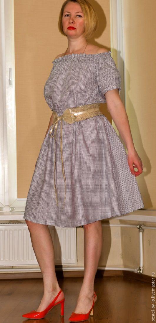 Платья ручной работы. Ярмарка Мастеров - ручная работа. Купить Платье барышня- крестьянка Сердечки. Handmade. Серый, сарафан летний