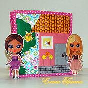 Кукольные домики ручной работы. Ярмарка Мастеров - ручная работа Домик - книжка для двух кукол. #68#. Handmade.