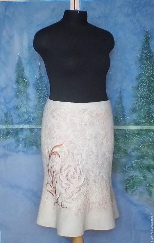 Юбки ручной работы. Ярмарка Мастеров - ручная работа. Купить Валяная юбка..Нежность. Handmade. Бежевый, нунофелтинг, одежда для женщин