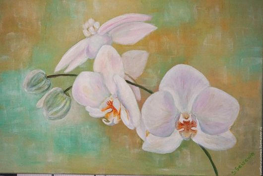 Картины цветов ручной работы. Ярмарка Мастеров - ручная работа. Купить Орхидея. Handmade. Белый, цветы, холст на подрамнике, краски