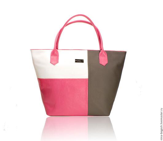 """Женские сумки ручной работы. Ярмарка Мастеров - ручная работа. Купить Сумка кожаная """"Tetris"""" spring, колорблок, розовый, серый. Handmade."""