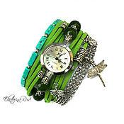 """Украшения ручной работы. Ярмарка Мастеров - ручная работа Стильные часы наручные  """"Летнее время"""" зеленый, зеленые часы, модно. Handmade."""