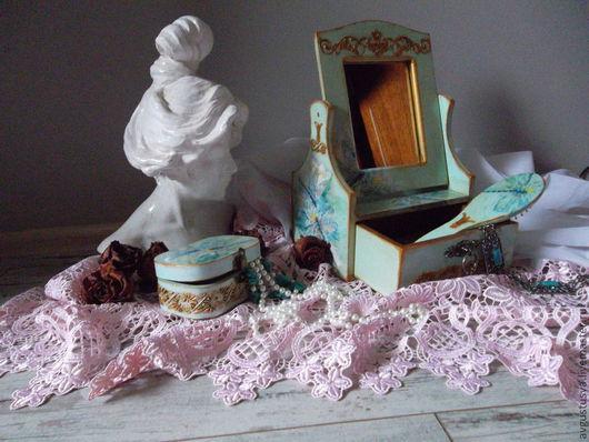 Мини-комоды ручной работы. Ярмарка Мастеров - ручная работа. Купить Набор для туалетного столика Бирюзовая нежность. Handmade. шкатулка