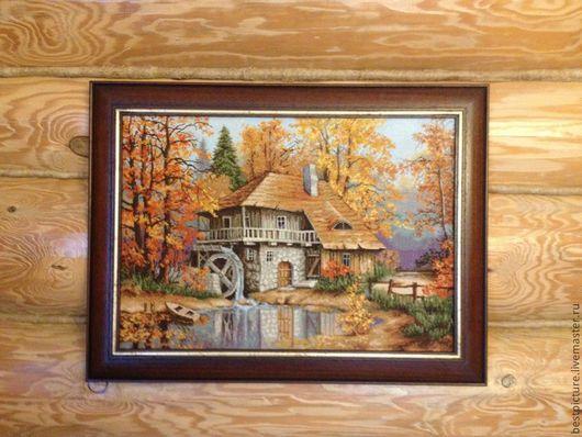 Пейзаж ручной работы. Ярмарка Мастеров - ручная работа. Купить Осенний пейзаж. Вышитая картина. Handmade. Рыжий, пейзаж