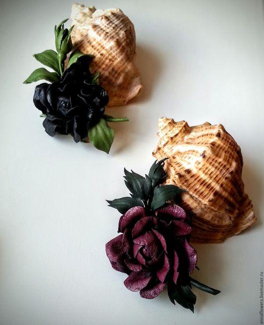 """Броши ручной работы. Ярмарка Мастеров - ручная работа. Купить Брошь из натуральной кожи """" Черная розочка """". Handmade."""