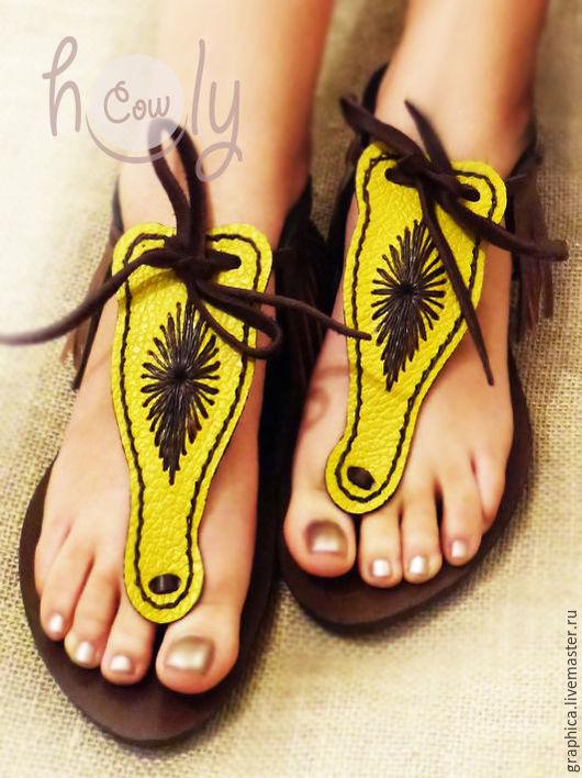 """Обувь ручной работы. Ярмарка Мастеров - ручная работа. Купить Кожаные сандалии """"Sexy Yellow"""". Handmade. Комбинированный, сандалии кожаные"""