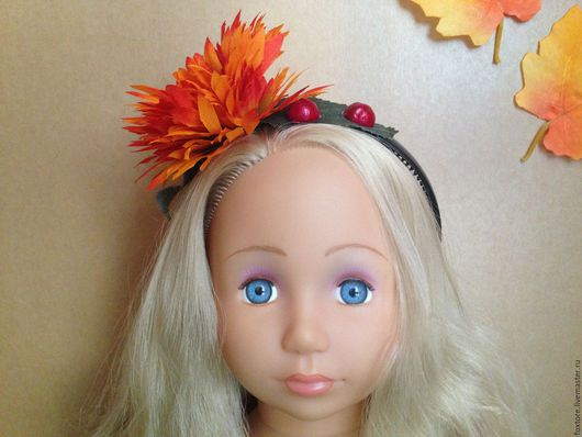 """Диадемы, обручи ручной работы. Ярмарка Мастеров - ручная работа. Купить Обруч для волос """"Огненный цветок"""". Handmade. Комбинированный, пламенный"""