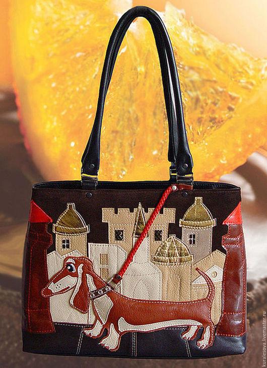 """Женские сумки ручной работы. Ярмарка Мастеров - ручная работа. Купить Кожаная сумочка """"рыжий пес"""". Handmade. Черный"""