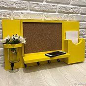 Ключницы ручной работы. Ярмарка Мастеров - ручная работа Ключница настенная жёлтая. Handmade.