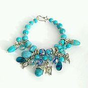 Украшения handmade. Livemaster - original item Bracelet of turquoise, lampwork and Swarovski. Handmade.