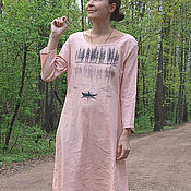 """Одежда ручной работы. Ярмарка Мастеров - ручная работа Платье льняное """"Лесное озеро"""" кремовое. Handmade."""