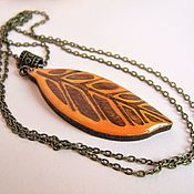 Украшения handmade. Livemaster - original item Pendant made of Wood and Resin Yellow Autumn Leaf Eco Boho. Handmade.