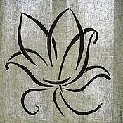 Для дома и интерьера ручной работы. Ярмарка Мастеров - ручная работа Штора льняная с орнаментом. Handmade.