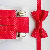 Аксессуары handmade. Livemaster - original item Set bow tie and suspenders red white polka dots. Handmade.