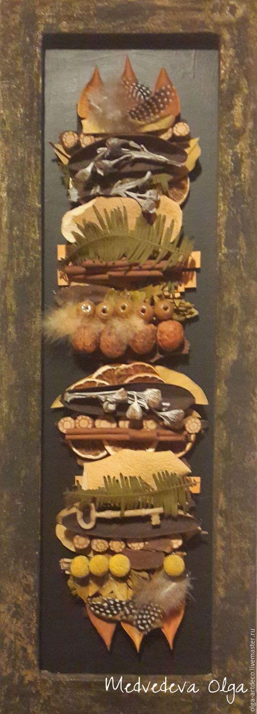Абстракция ручной работы. Ярмарка Мастеров - ручная работа. Купить картина. Handmade. Желтый, сухоцветы, перья, деревянные бусины