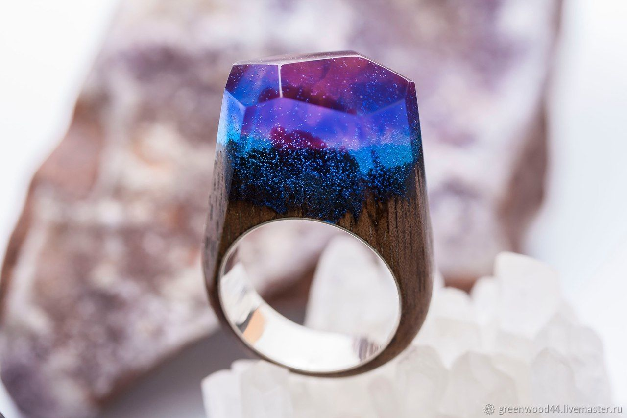 Wooden ring 'Northern lights' Silver, Rings, Kostroma,  Фото №1