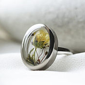 Украшения handmade. Livemaster - original item Oval titanium ring with fresh flowers. Ring with spring flowers. Handmade.