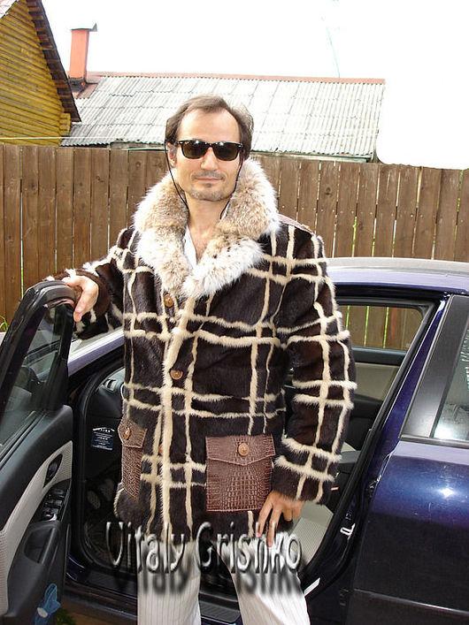 авторская шуба для мужчин из меха норки и рыси купить или заказать можно в меховой мастерской fursstyle.ru Москва