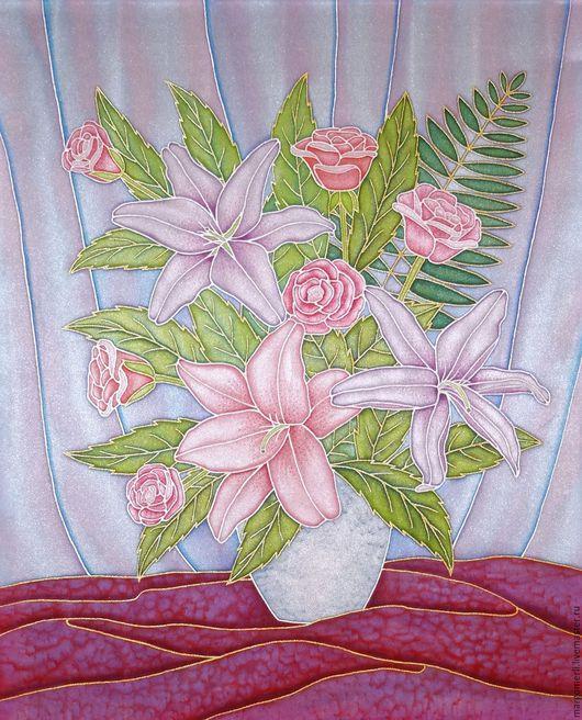 Картины цветов ручной работы. Ярмарка Мастеров - ручная работа. Купить Букет с лилиями. Handmade. Сиреневый, Батик, атлас, цветы