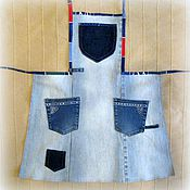 Для дома и интерьера ручной работы. Ярмарка Мастеров - ручная работа Джинсовый фартук. Голубой. Handmade.