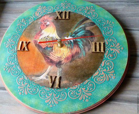 """Новый год 2017 ручной работы. Ярмарка Мастеров - ручная работа. Купить Часы настенные """"Петушок"""" Подарок к году Петуха. Handmade."""