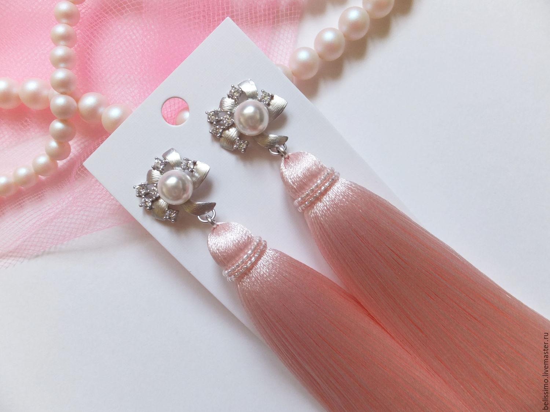 Розовые серьги сделано своими руками