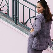 Одежда handmade. Livemaster - original item Dress with vest crochet Alpaca Purple haze. Handmade.