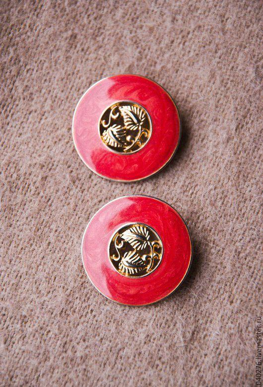Винтажные серьги `Золотые листочки`, Германия, металл, эмаль, диаметр 3 см, гвоздики, в идеале. Цена 1250 рублей.