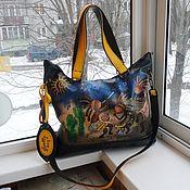 Сумки и аксессуары handmade. Livemaster - original item Bag leather women with painting Kokopelli custom for Ani.. Handmade.