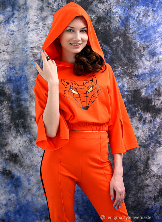 Summer orange suit with stripes, loose t-shirt with hood, Suits, Novosibirsk,  Фото №1
