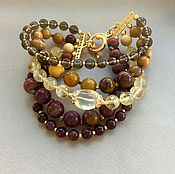 Украшения handmade. Livemaster - original item Bracelet SHADES of AUTUMN Jasper, Mukai, garnet, Topaz and citrine. Handmade.