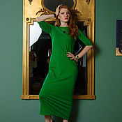 Одежда ручной работы. Ярмарка Мастеров - ручная работа Травяное трикотажное платье. Handmade.