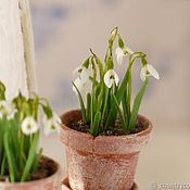 Miniature figurines handmade. Livemaster - original item Snowdrops in a pot in the scale 1: 12. Handmade.