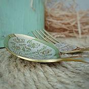 Ложки ручной работы. Ярмарка Мастеров - ручная работа Именной столовый набор (ложка вилка) в подарочной коробочке. Handmade.