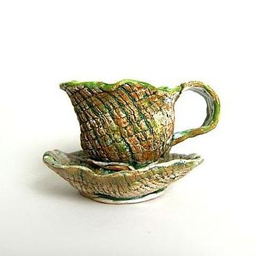 """Посуда ручной работы. Ярмарка Мастеров - ручная работа Чайная пара """"Салатик"""". Handmade."""