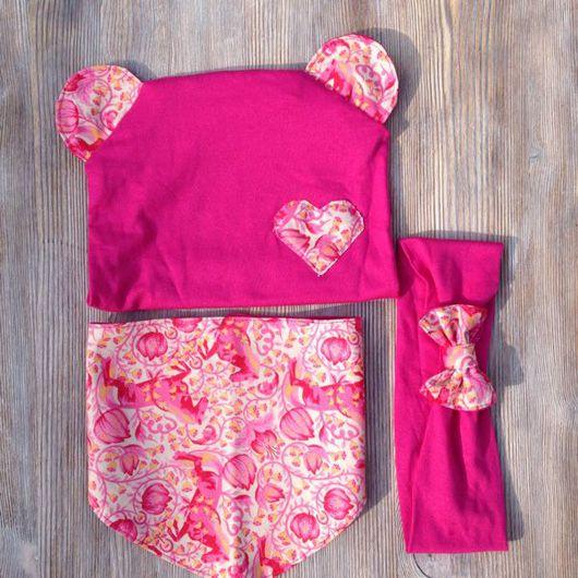 """Детские аксессуары ручной работы. Ярмарка Мастеров - ручная работа. Купить Комплект """"Розовый лис"""". Handmade. Подарок новорожденному"""