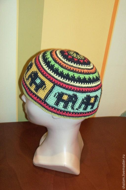 Для мужчин, ручной работы. Ярмарка Мастеров - ручная работа. Купить шапочка (кипа) вязанная крючком с орнаментом. Handmade. Разноцветный