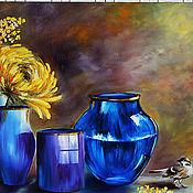 Картины и панно ручной работы. Ярмарка Мастеров - ручная работа Картина маслом  Мимоза и воробей. Handmade.