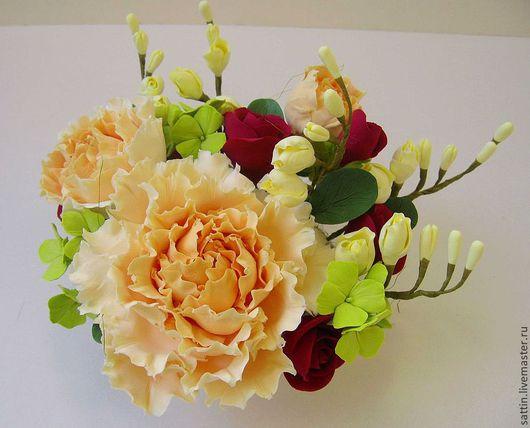 """Букеты ручной работы. Ярмарка Мастеров - ручная работа. Купить """"Версаль-мини"""", цветочная композиция. Handmade. Букет из полимерной глины"""