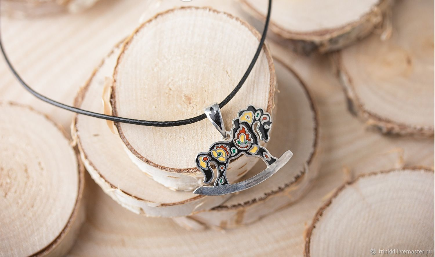 Horse pendant in sterling silver in the Russian style with enamel and a pattern Khokhloma