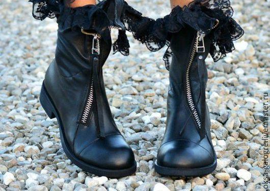 Обувь ручной работы. Ярмарка Мастеров - ручная работа. Купить Стильные ботинки. Handmade. Черный, ботинки ручной работы