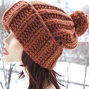 Аксессуары handmade. Livemaster - original item Large Terracotta Cap with pompon knitted with thick yarn 100% wool. Handmade.