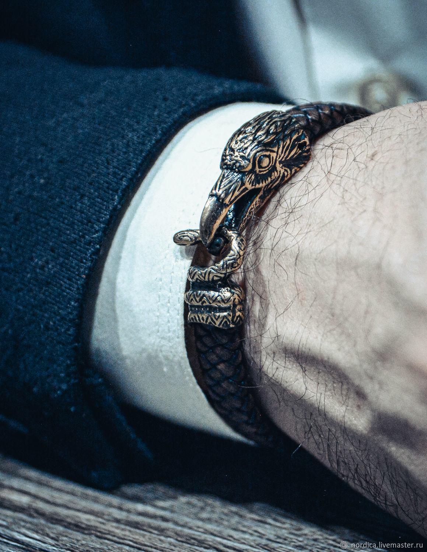 """Браслет """"Ворон и змей"""" из кожи и бронзы, Браслет плетеный, Ярославль,  Фото №1"""
