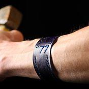 Браслет-манжета ручной работы. Ярмарка Мастеров - ручная работа Браслет-манжета: Кожаный браслет «Ансуз». Handmade.