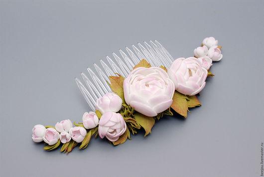 Свадебные украшения ручной работы. Ярмарка Мастеров - ручная работа. Купить Цветочный гребень. Handmade. Гребень для волос, гребень для невесты