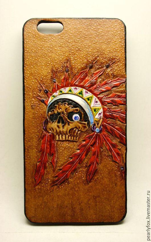 Для телефонов ручной работы. Ярмарка Мастеров - ручная работа. Купить Кожаный чехол (бампер) для Iphone 6 Plus/6 Plus S Красный Джо. Handmade.