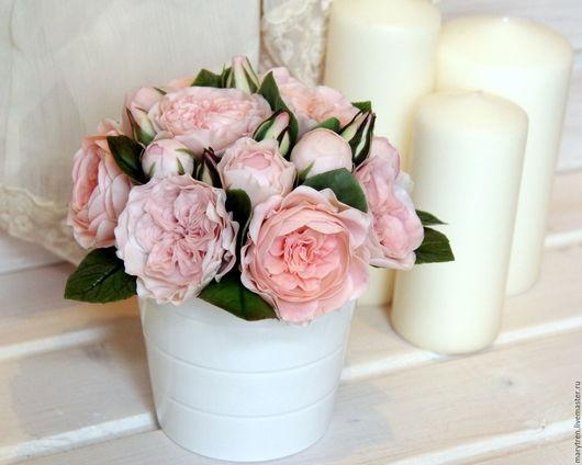 """Интерьерные композиции ручной работы. Ярмарка Мастеров - ручная работа. Купить Букет """"Английские розы"""". Handmade. Розовый, своими руками"""