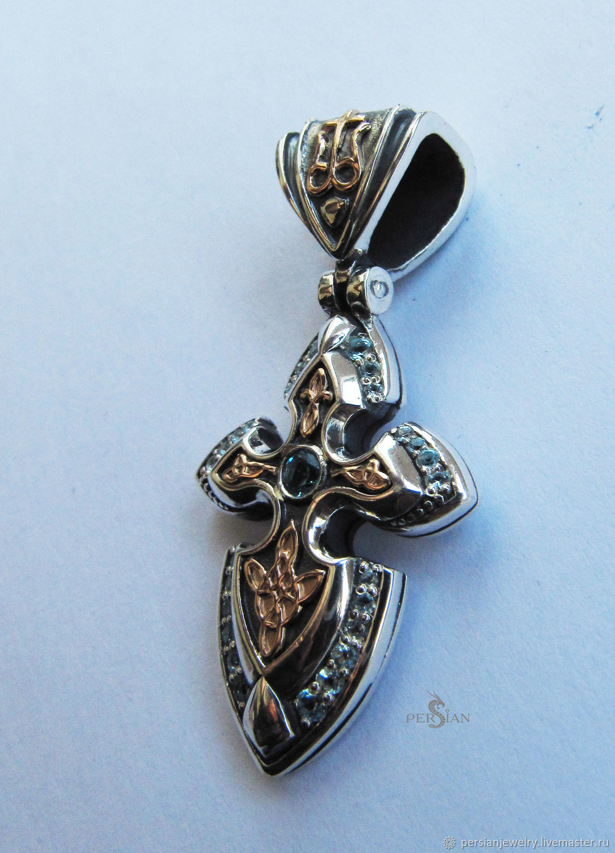 Silver cross with Topaz, Pendants, Sevastopol,  Фото №1