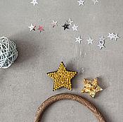 Украшения handmade. Livemaster - original item Embroidered brooch gold star. Handmade.